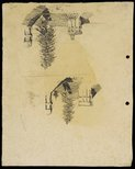 Alternate image of recto: House with gabled roof - Roslyndale, Woollahra verso: Chimneys and tree (twice) [upside down] by Lloyd Rees
