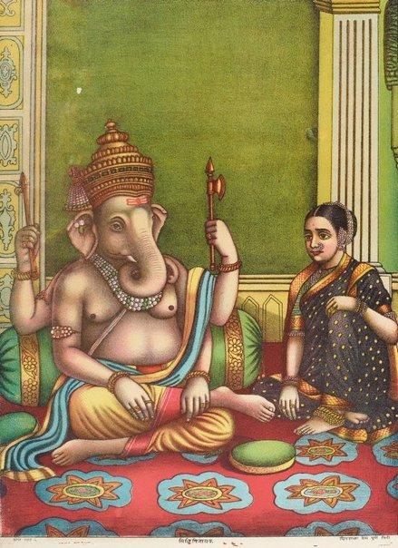 An image of Siddhi Vinayak (a form of Ganesha) by Chitrashala Press