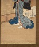 Alternate image of Kuzunoha: writing a farewell poem to her child by Utagawa Kunimune II/Kunimasa II