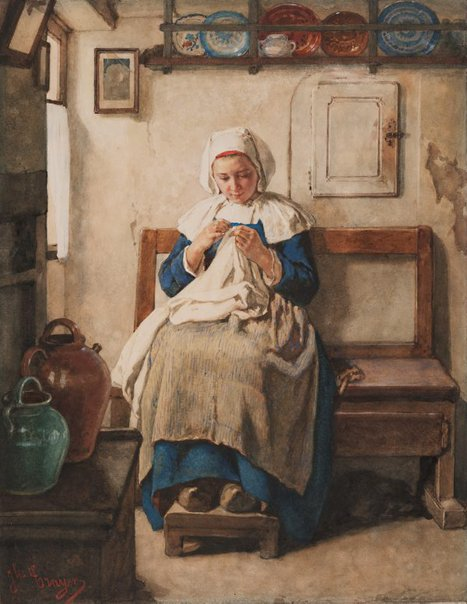 An image of Breton peasant girl by Jules Trayer