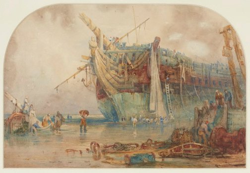 An image of Wreck of the 'Thames' by Samuel Prout