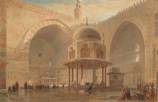 An image of Interior of the Mosque of Sultan Hassan, Cairo by Edward Angelo Goodall