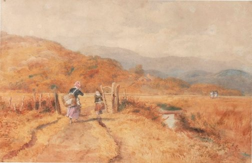 An image of The road to the peat bog, near Barmouth, North Wales by John Henry Mole