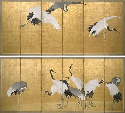 An image of Cranes by Maruyama Ôkyo