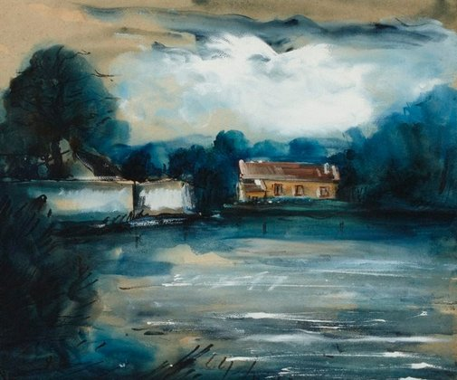 An image of House by a lake by Maurice de Vlaminck