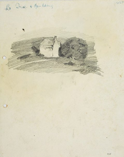An image of recto: Tree and building verso: Building by the water and Landform by Lloyd Rees