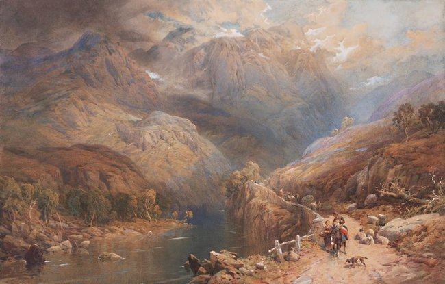 AGNSW collection Thomas Miles Richardson Jnr Eagle Crag and Gate Crag, Borrowdale, Cumberland (1875) 1090