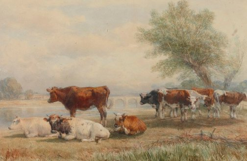 An image of Cattle piece, a scene on the Wye by Henry Brittan Willis
