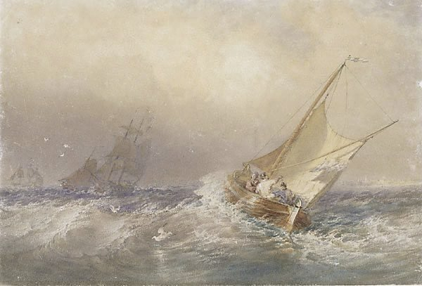 AGNSW collection Sir Oswald Brierly A fresh breeze off Revel, France (circa 1875) 1092