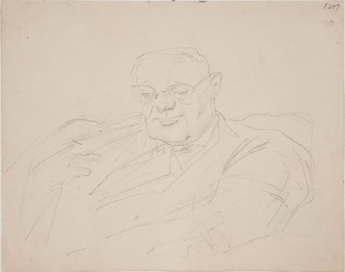 An image of (Portrait study of a man) (Late Sydney Period) by William Dobell