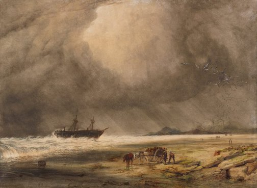 An image of Stranded – morning after the wreck by Copley Fielding