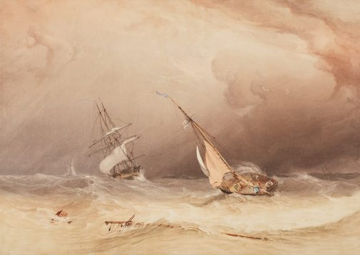An image of Off the Eddystone – effect of storm by Copley Fielding