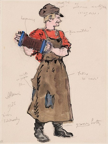 An image of Costume study for Petrouchka by Alexandre-Nikolayevich Benois