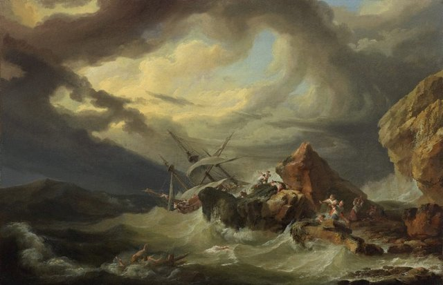 A shipwreck off a rocky coast, (1760s) by Philippe Jacques de Loutherbourg