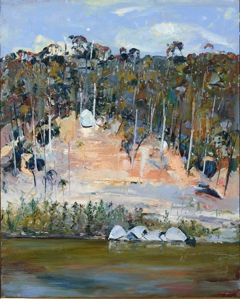 An image of River bank and four rocks by Arthur Boyd