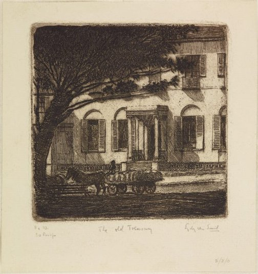 An image of Old Treasury, Lang Street by Sydney Ure Smith