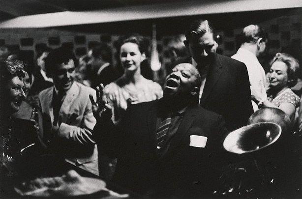 An image of U.S. blues singer, Jimmy Rushing singing at Kym Bonython's house, Grange S.A.