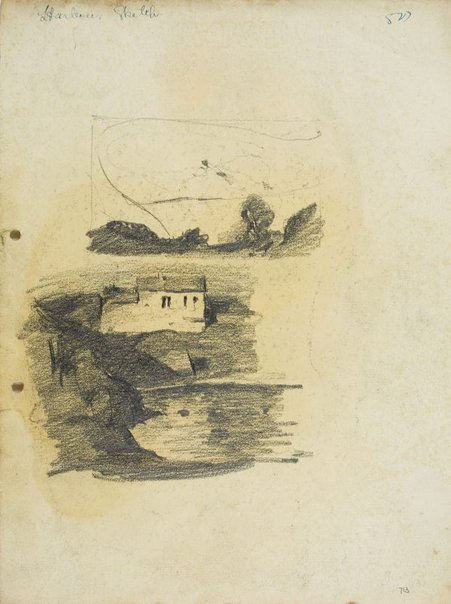 An image of recto: Landscape composition and House by the Harbour verso: Harbour cliff, House by the Harbour and Man in a hat by Lloyd Rees