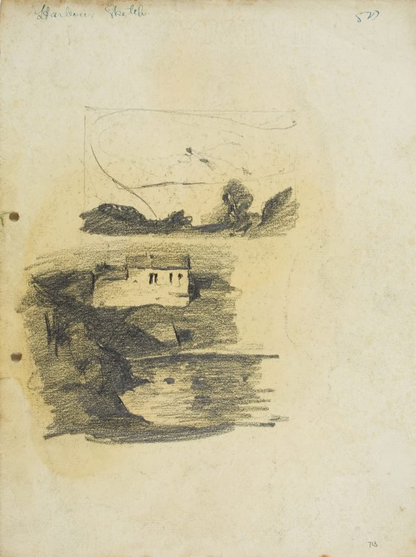 An image of recto: Landscape composition and House by the Harbour verso: Harbour cliff, House by the Harbour and Man in a hat