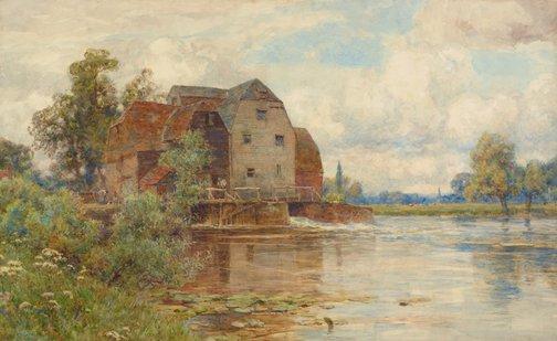 An image of The mill pool, Hemingford Grey by Sir Ernest Albert Waterlow