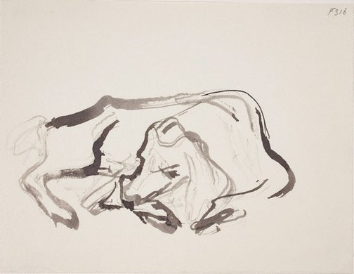 An image of (Sleeping dog) (Late Sydney Period) by William Dobell