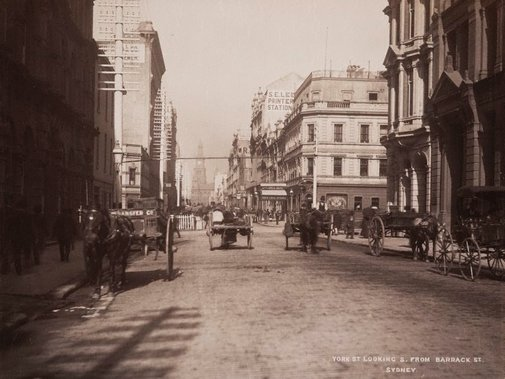 An image of York St. looking South from Barrack St. Sydney by Unknown, NSW Government Printer