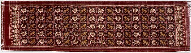 An image of Ceremonial cloth with elephant and tiger design