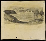 Alternate image of recto: Landscape with road verso: Landscape with water [sideways] by Lloyd Rees