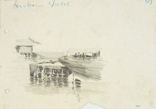 An image of Pier and shed, Sydney Harbour by Lloyd Rees