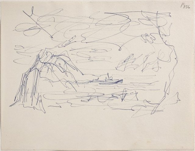 An image of (Seascape with boat) (Late Sydney Period)