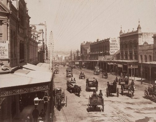An image of George St. looking South from Bathurst St. Sydney by Unknown, NSW Government Printer