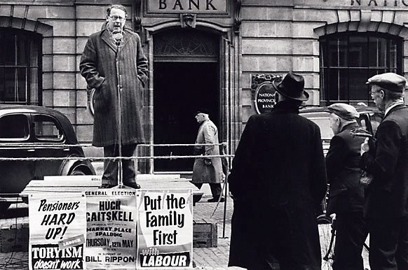 An image of Hugh Gaitskell on election campaign UK