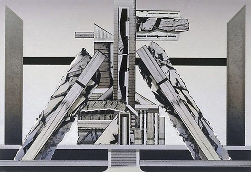 An image of West Melbourne: a structure for Boullee and Ledoux (design for National Australia Bank tapestry) by Jan Senbergs