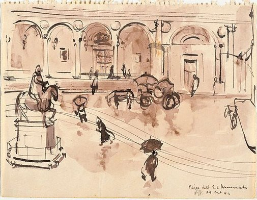 An image of Piazza dell S.S. Annunciata by Frank Hodgkinson