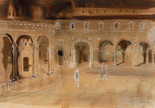 An image of Piazza della S S Annunciata by Frank Hodgkinson