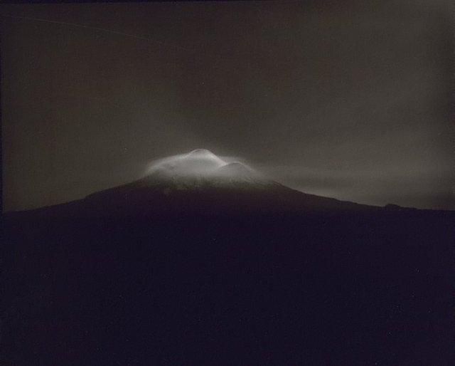 An image of Taranaki from Oeo Road, under Moonlight, 27-28 September 1999