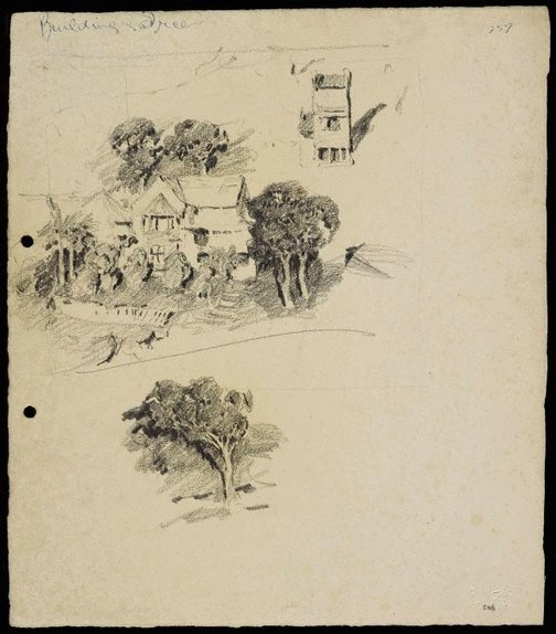 An image of Terrace house and Large house and garden [top] and Tree [bottom] by Lloyd Rees