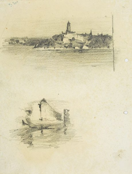 An image of recto:  Headland with tower and Harbour sketch verso: Harbour view with boat and pile driver by Lloyd Rees