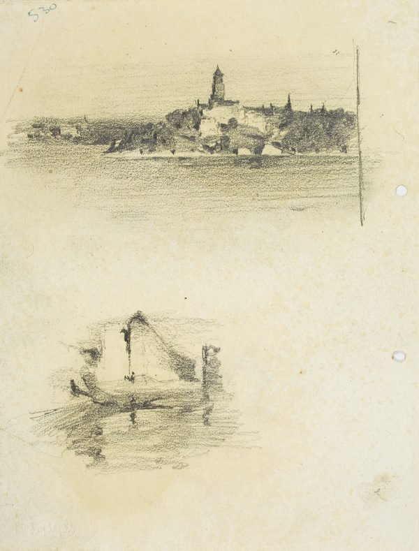 An image of recto:  Headland with tower and Harbour sketch verso: Harbour view with boat and pile driver
