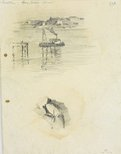 Alternate image of recto:  Headland with tower and Harbour sketch verso: Harbour view with boat and pile driver by Lloyd Rees
