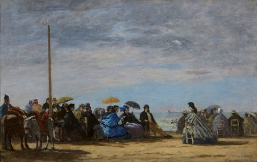 An image of The beach by Eugène Boudin