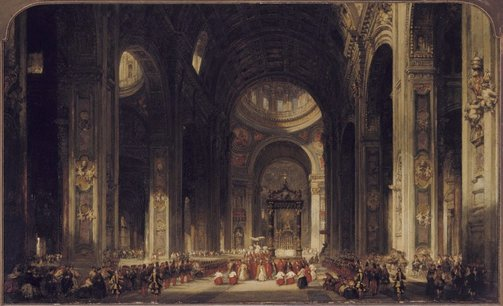 An image of Interior of the Basilica of St Peters at Rome by David Roberts
