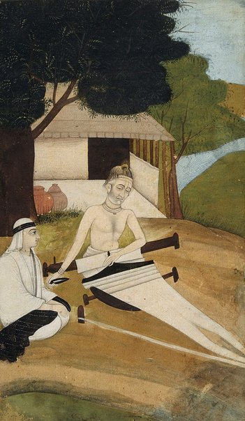 An image of Kabir tending his loom by