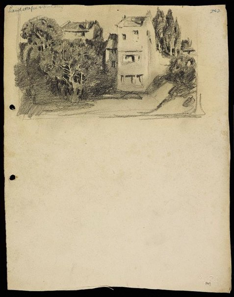 An image of Terrace house with trees by Lloyd Rees