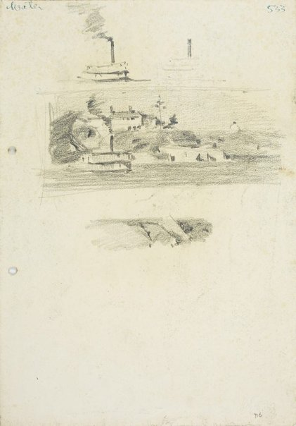 An image of recto: Two Ferry studies, Water view with ferry and Landform verso: Tree and rocks, Tree and Headland by Lloyd Rees