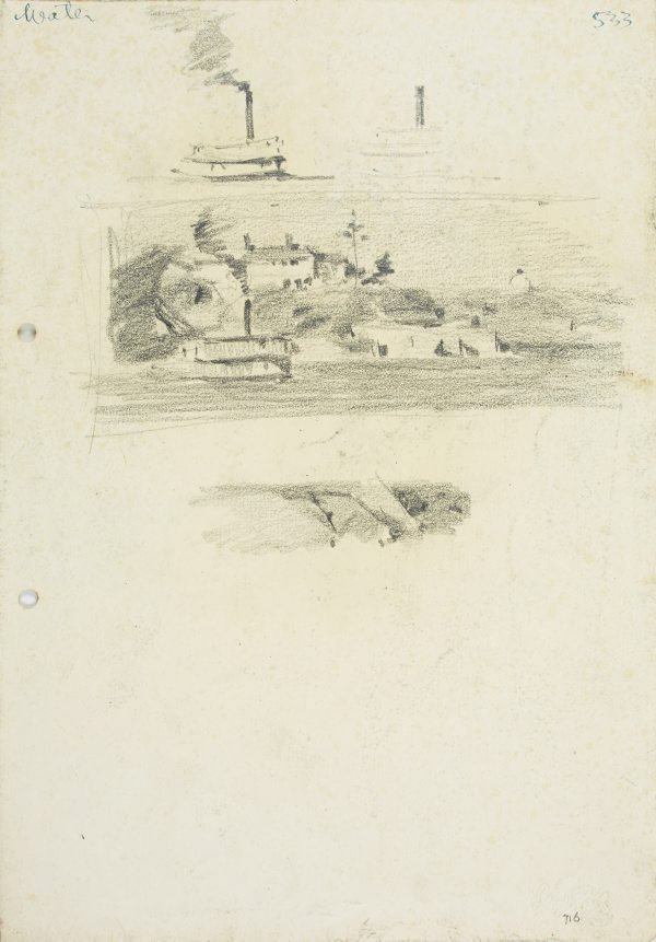 An image of recto: Two Ferry studies, Water view with ferry and Landform verso: Tree and rocks, Tree and Headland