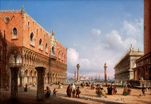 An image of View of St Mark's Square Venice by Carlo Bossoli