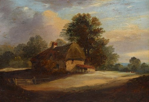 An image of Cottage with trees behind, clearing by Unknown, attrib. Norwich School