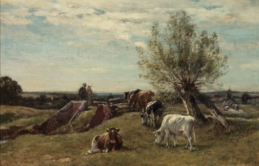 An image of Landscape and cattle by Mark Fisher