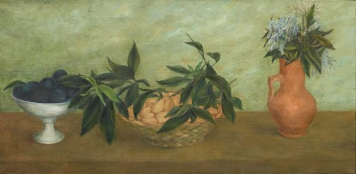 An image of Still life with almonds and plums by David Strachan